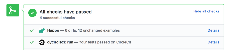 Example of a Happo status posted to a pull request on github.com.