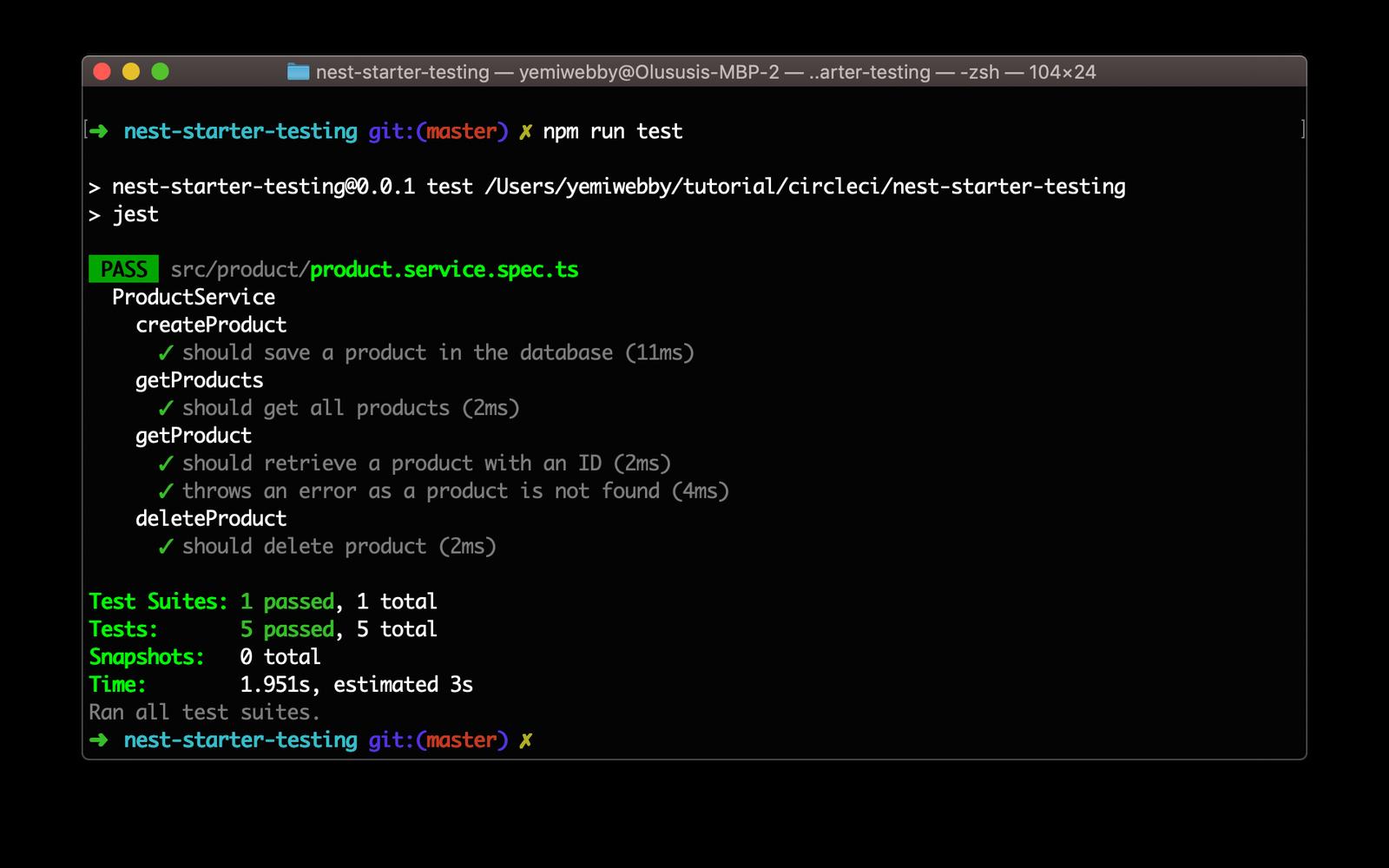 Test result terminal