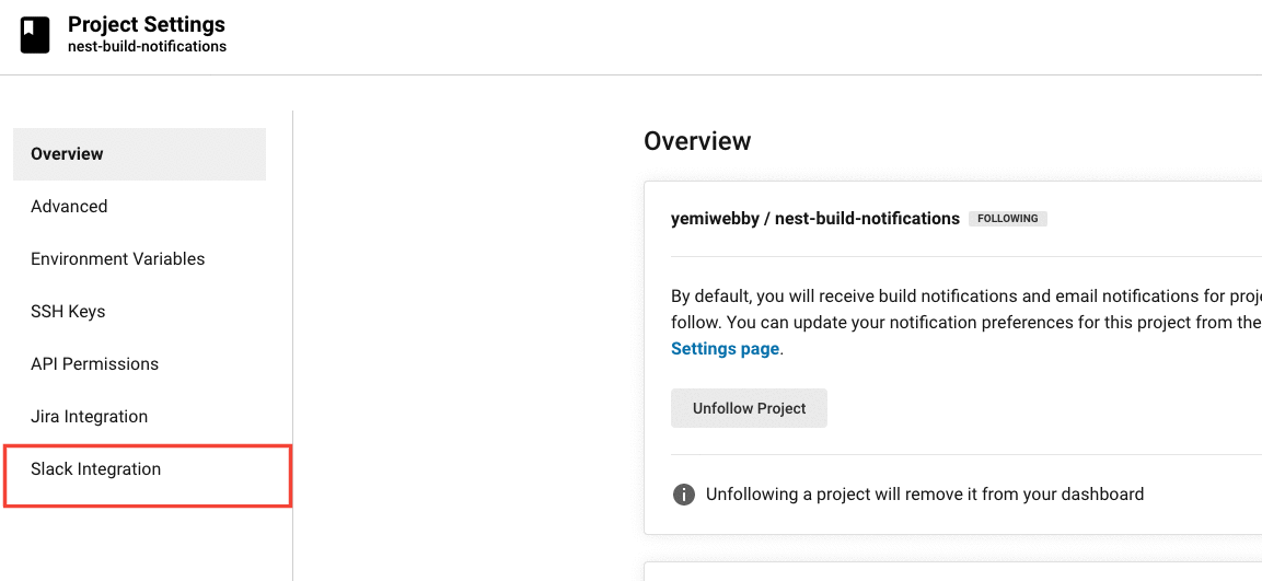 Slack integration page