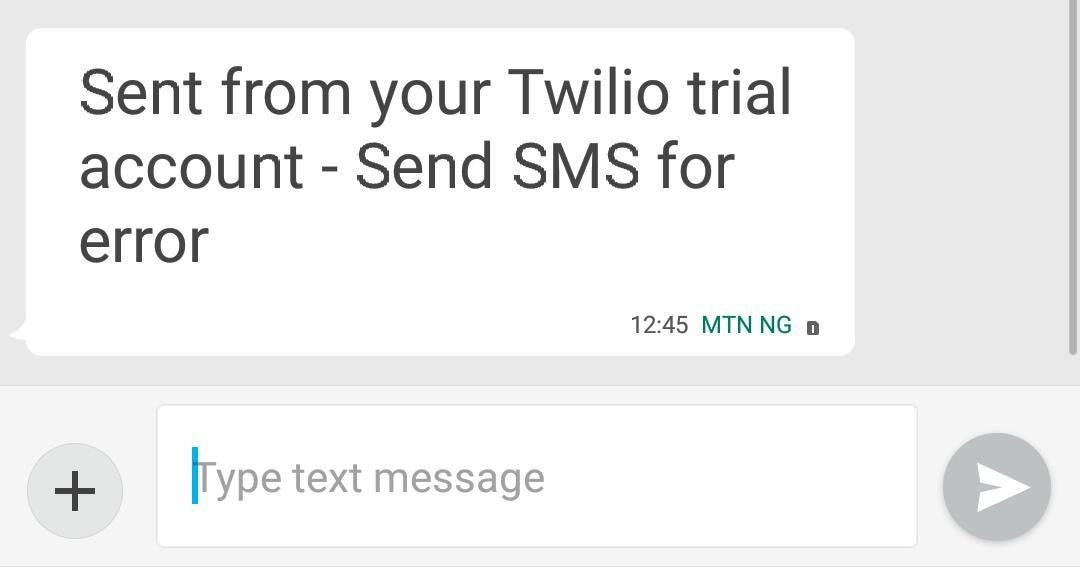 Twilio error message