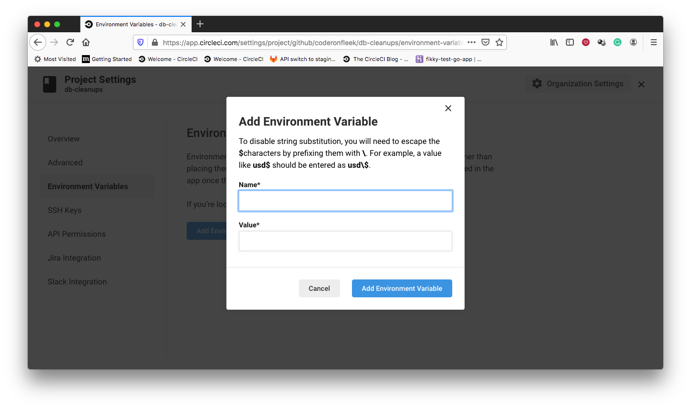 Add Environment variable - CircleCI