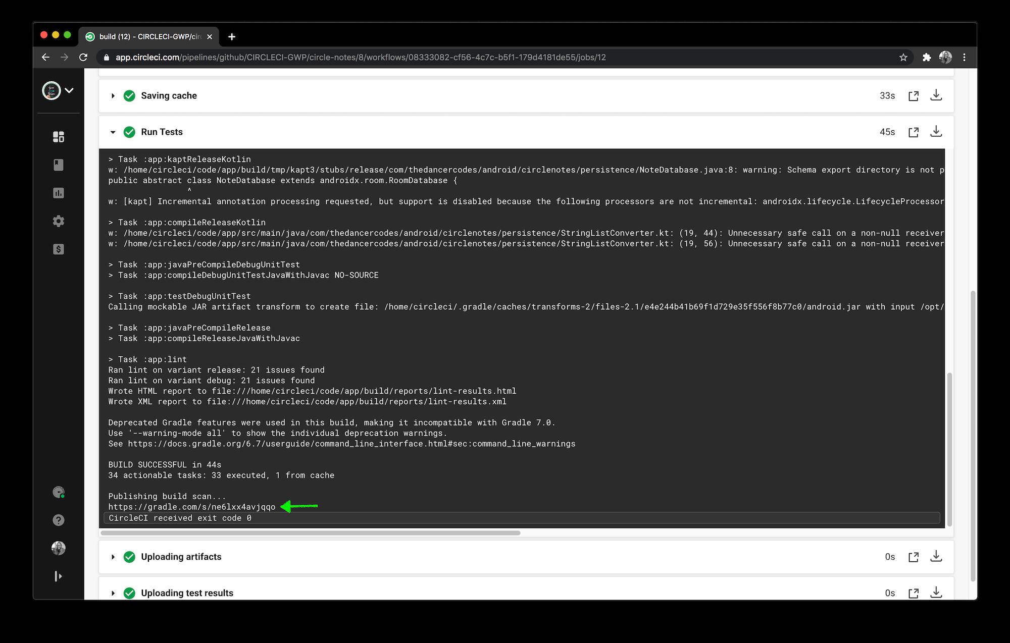 Circle CI Build Scan