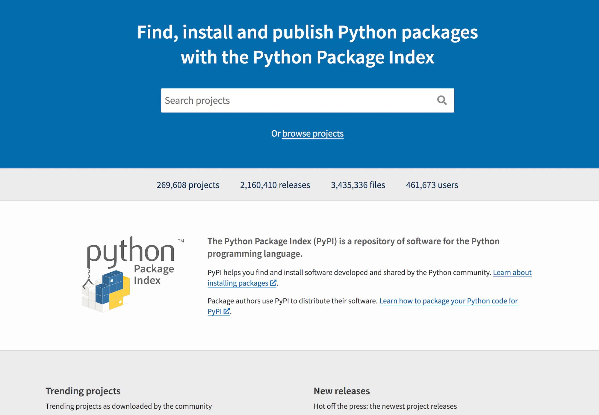 PyPI homepage