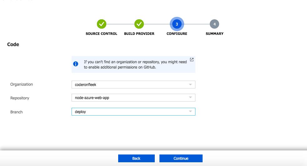 Azure repo configuration - GitHub