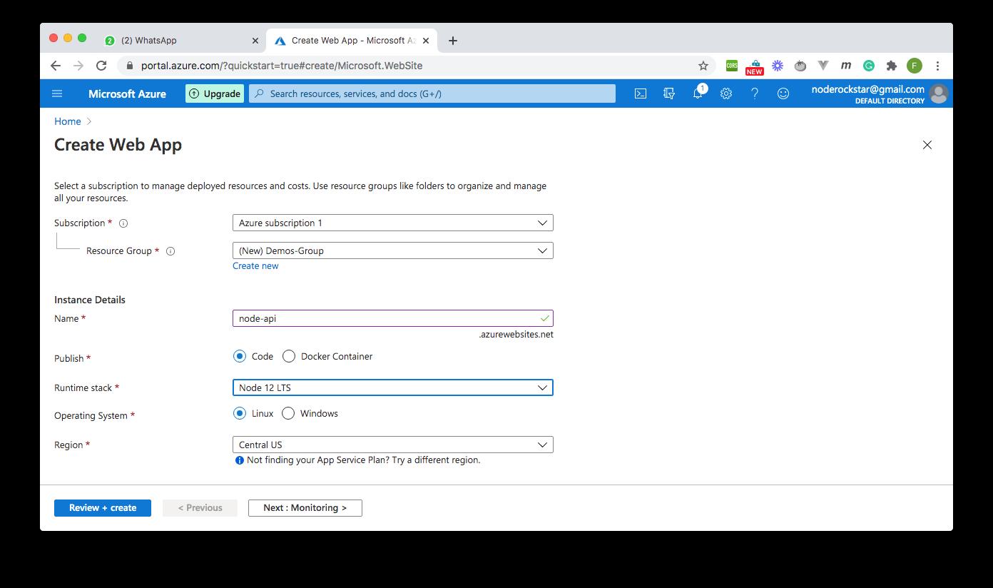 Create Web App Options - Azure