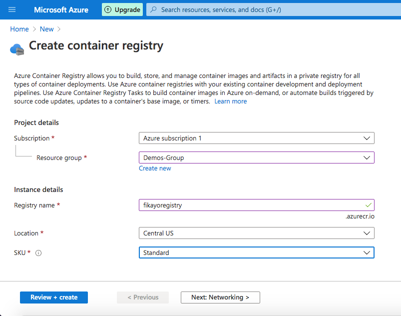 Create Registry Page - Azure