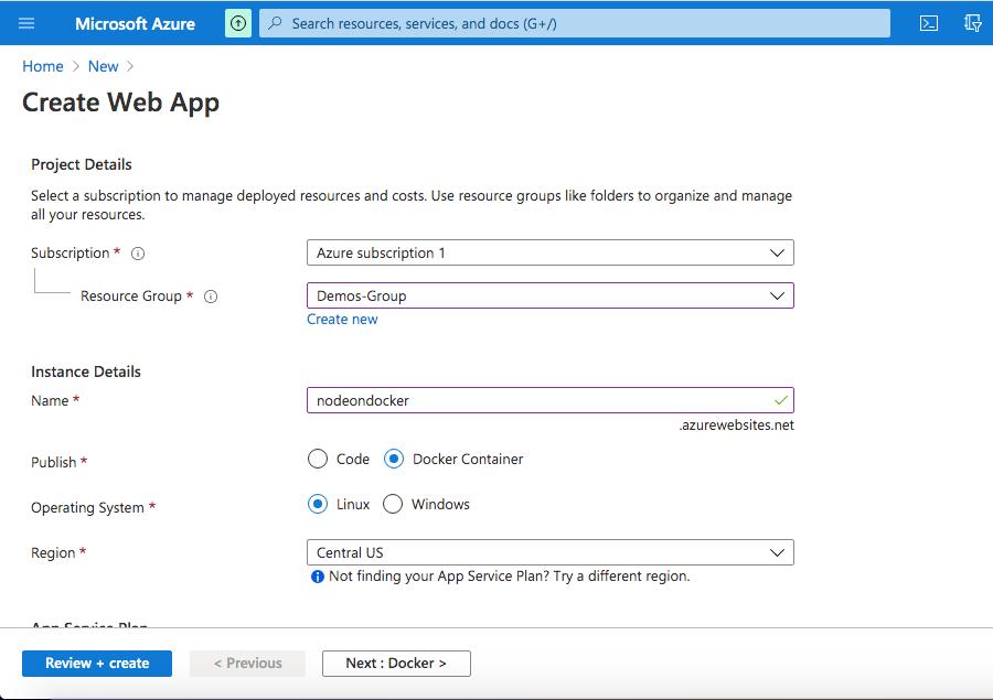 Docker Settings page - Azure