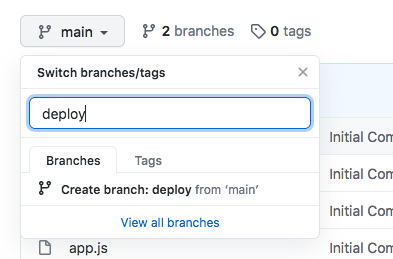deploy branch - GitHub