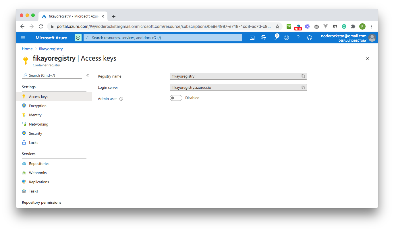 Enable Docker Access - Azure Container Registry