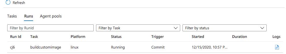 Image build running - Azure