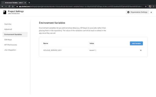 Adding a service account key as an environment variable
