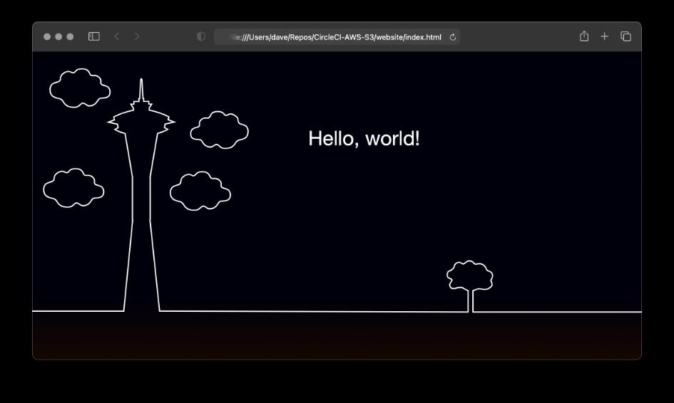 "Browser displaying ""Hello, World"""