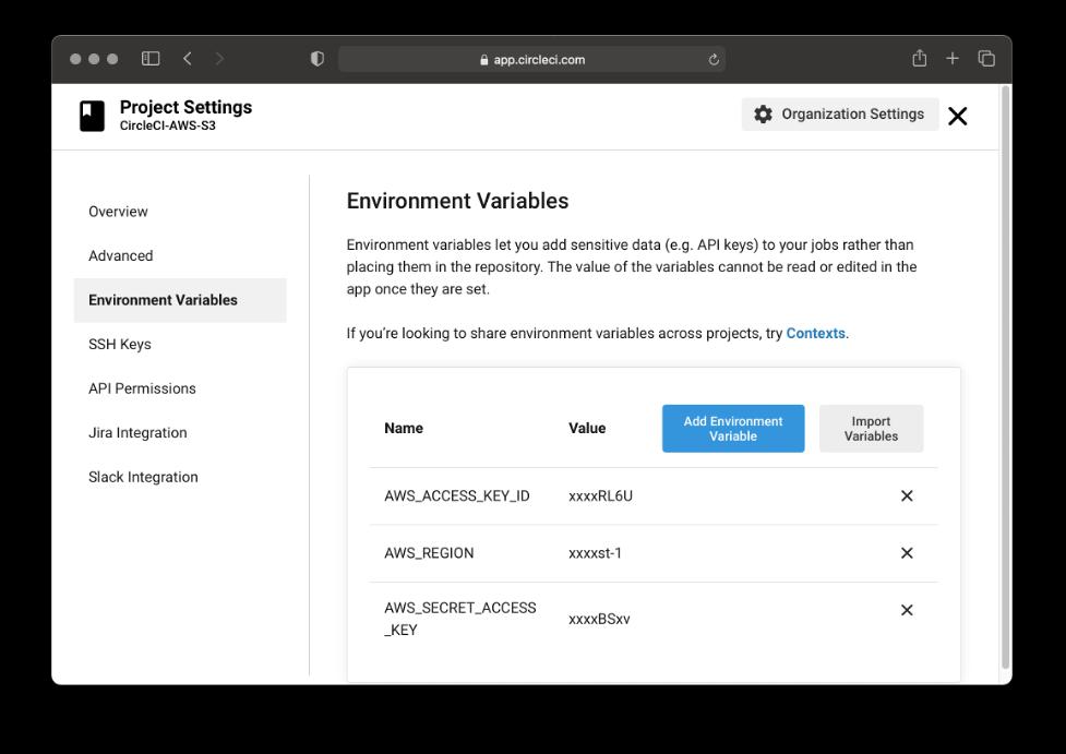 CircleCI environment variables page