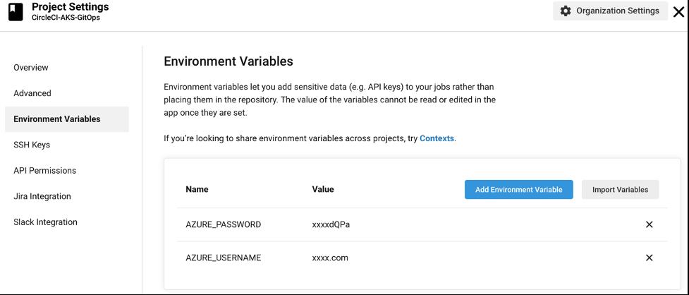 CircleCI environment variables