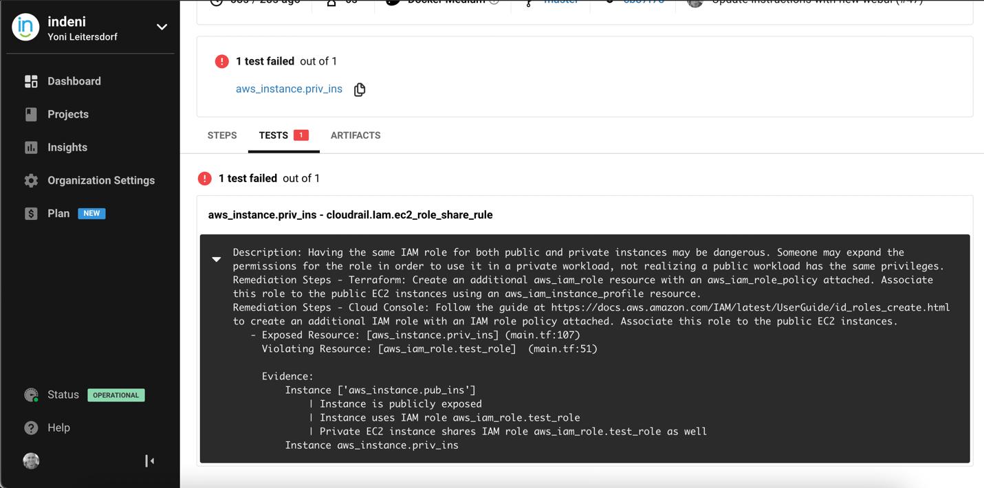 Test tab view - test failure