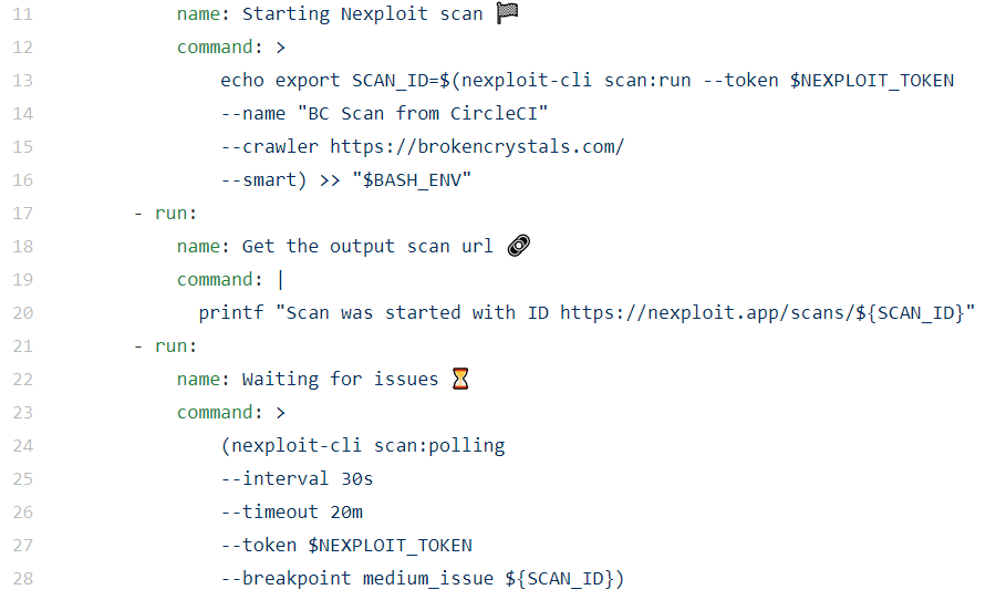 Code for defining scan set up