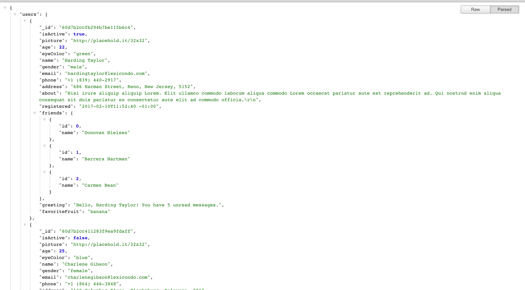 API response User List