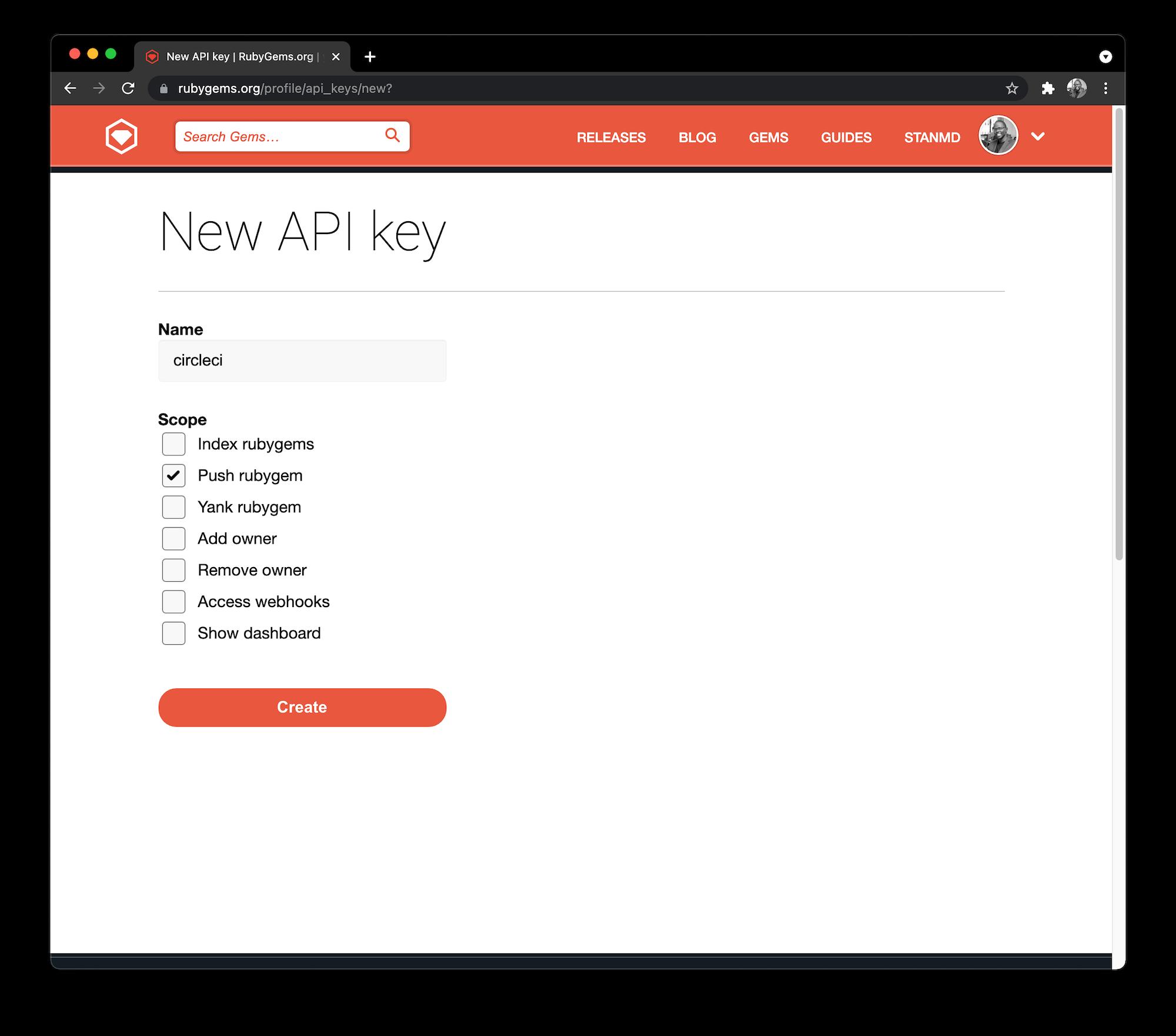 Rubygems API key