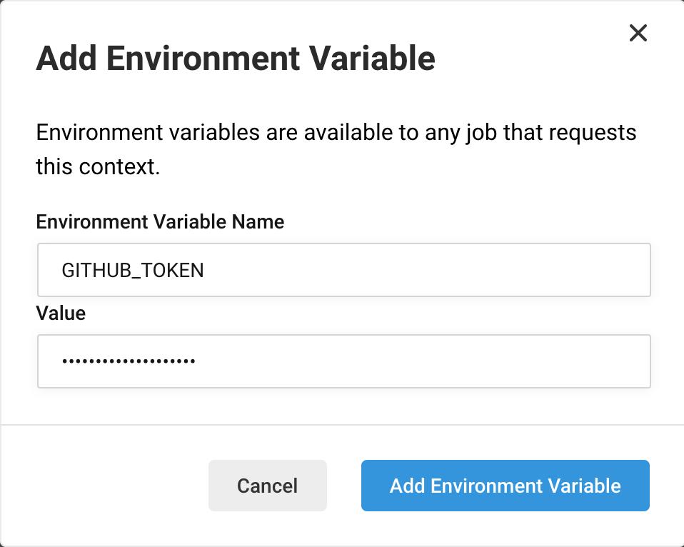 Add Environment Variable UI window