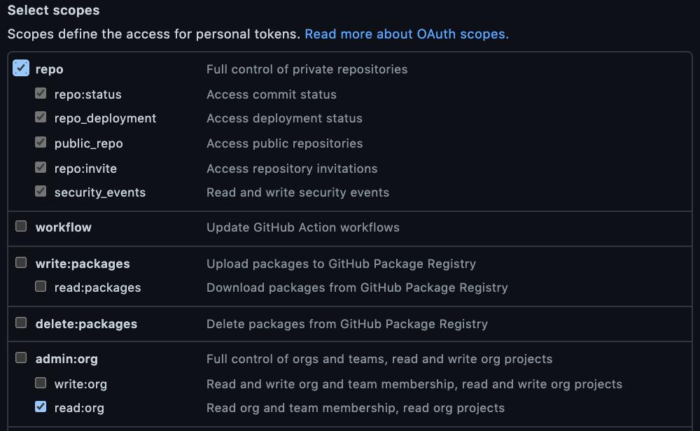 Github persona access token scopes
