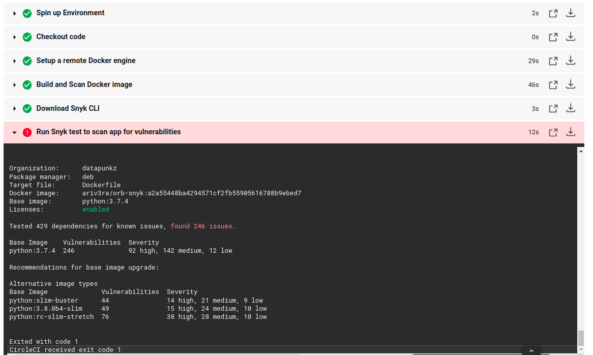 Example of a Docker image scan failure within the CircleCI dashboard.