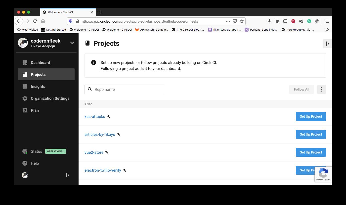 プロジェクトの追加 - CircleCI