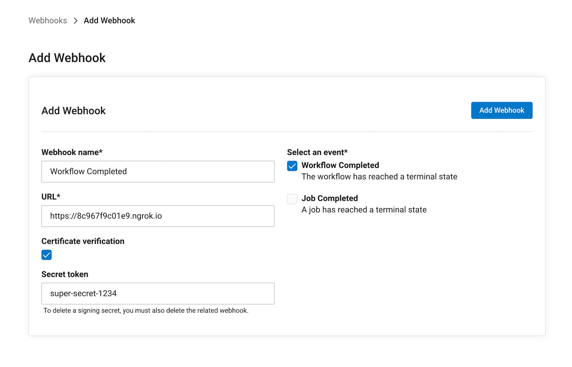 Setting up a webhook interface